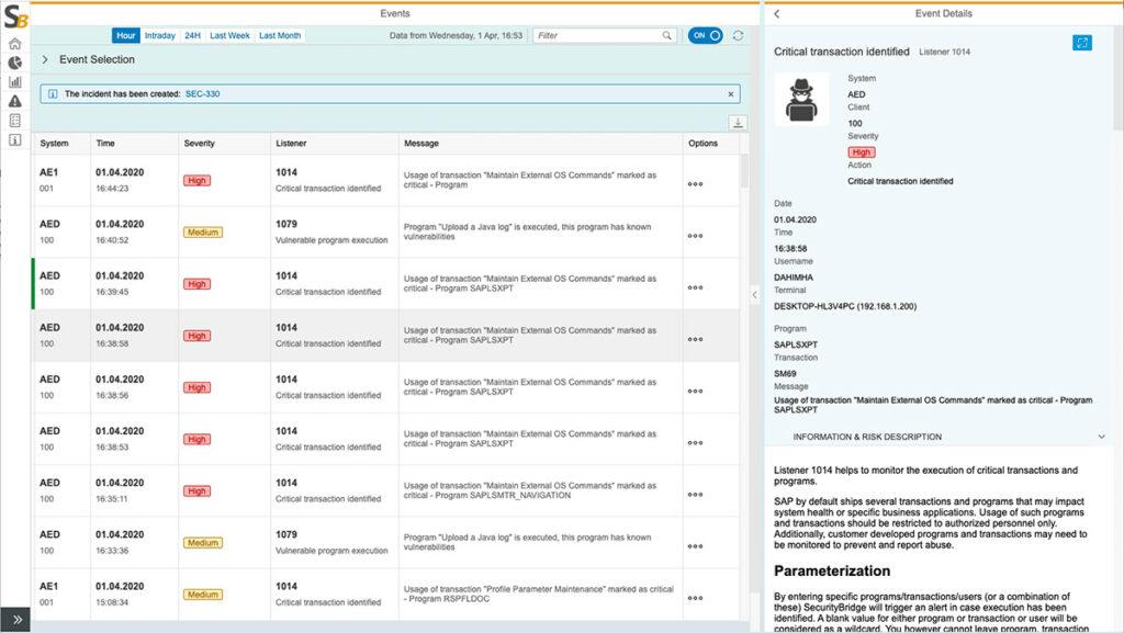 Split Screen Feature SecurityBridge Event Monitor
