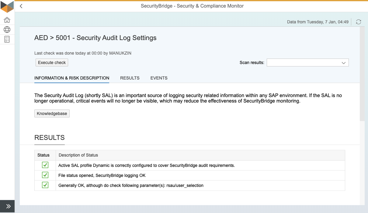 S&C Test - Security Audit Log Settings